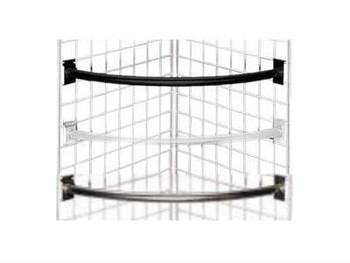 Gridwall Quarter Circle Hangrail   Black, White or Chrome   Case of 10