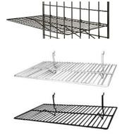 "Gridwall Flat Shelf 24"" x 12"" | Black or White | Case of 6"