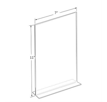 """11""""H x 7""""W Double Sided Clear Countertop Sign Holder   Bottom Load"""