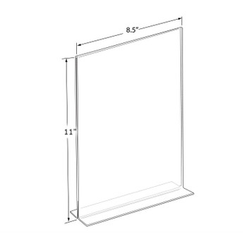 "11""H x 8.5""W  Double Sided Clear Countertop Sign Holder 