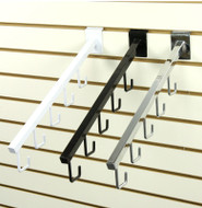 Slatwall 5-J-Hook Waterfall Faceout | Black, White or Chrome