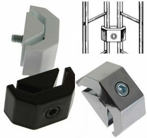 Gridwall 2 Way Joiner Clamp | Black, White or Chrome