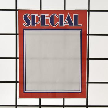 "Grid  Gridwall Acrylic Sign Holder 11""H X 8.5""W | Vertical"