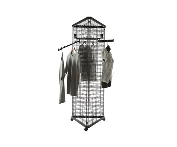 Gridwall Three Sided Free Standing Rolling Display | Black, White or Chorm