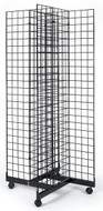 Gridwall 4 Way Free Standing Rolling Display Fixture | Black