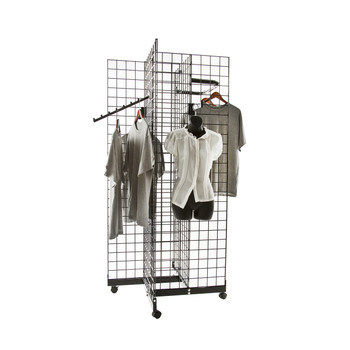 Gridwall 2 & 4 Sided Rolling Display Fixtures | Black, White or Chrome