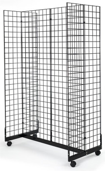 Gridwall Rolling Gondola Display Fixture | Black