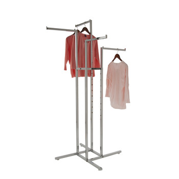 "4 Way Retail Garment Rack With (4) 16"" Long Straight Display Arms 