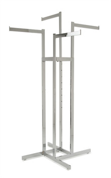 "Chrome 4 Way Clothing Rack with 4 16"" long Straight Display Arms"