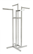 """Chrome 4 Way Clothing Rack with 4 16"""" long Straight Display Arms"""