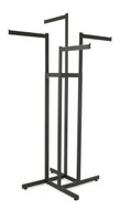 4 Way Clothing Rack w/ 4 Straight Arms  Rectangular Tubing | Black