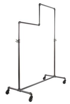 Two Tier Adjustable Height Pipeline Ballet Rolling Clothing Rack | GREY