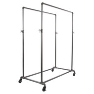 Pipeline Double Rail Rolling Ballet Clothing Rack  Adj. Height | GREY