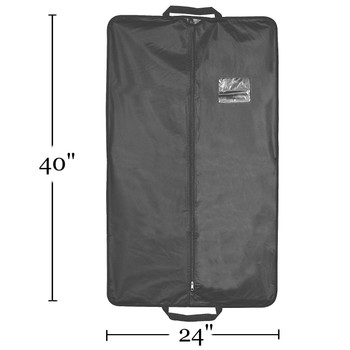 "40"" Heavy Duty Travel Vinyl Zippered Suit Cover BLACK 