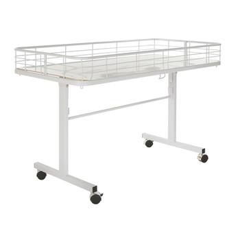 Folding Dump Bin Table on Wheels   White