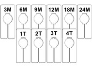 Infant & Toddler Rectangular Size Dividers | Sold in Case of 100/Size
