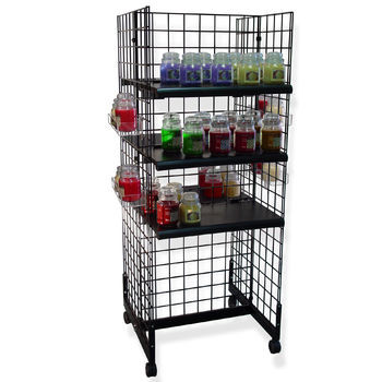 Gridwall Gondola Rolling Display | Black, White or Chrome