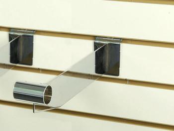 """Slatwall Hangrail Bracket 12""""L For 1.25"""" Round Tubing   Chrome"""