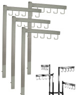 Chrome Rectangular 2 & 4 Way Rack Straight With 5J Hooks Replacement Arms