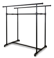 Double Bar Retail Clothing Display Pipe Rack  MATT BLACK
