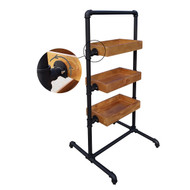 Three Tray Display Pipe Rack | MATT BLACK