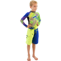Boys Two Tone Shorts - Blue / Green PWC Jetski Apparel
