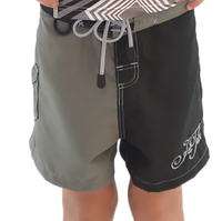 Boys Two Tone Shorts - Black / Grey PWC Jetski Apparel
