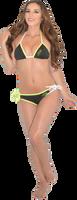 Mission Bay Bikini Tie Bottom  - Neon Yellow/Green PWC Jetski Swimwear