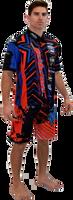 MEN'S PIT SHIRT SHOCKWAVE - BLUE / RED PWC JETSKI RIDE & RACE JET SKI APPAREL