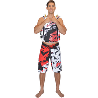 Shattered Men's Board Shorts Red PWC Jetski Ride & Race Apparel