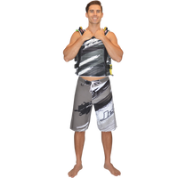 Ripped Men's Board Shorts - Grey PWC Jetski Ride & Race Apparel