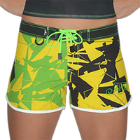 Shattered Ladies Board Shorts Yellow Green PWC Jetski Ride & Race