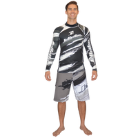 Longsleeve Scratch Rashguard Grey PWC Jetski Ride & Race Apparel