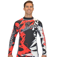 Longsleeve Shattered Rashguard - Red PWC Jetski Ride & Race Apparel