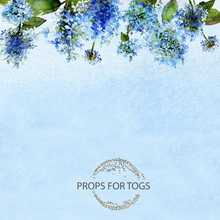 Blue hydrangea photographers backdrop, 001 garland backdrop.