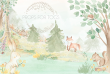 woodland animals backdrop..water colour ... exclusive to props for togs hand painted  this size is 60 x 80...larger sizes will crop some off the top of the print.Please contact us if you would like a bespoke size or in portrait with floor added