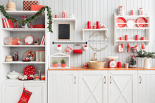 red and white Christmas kitchen  - christmas photographers backdrop