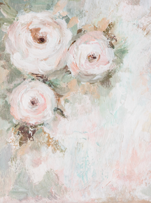 beautiful Handpainted photographers flower backdrop- cream, peach and green