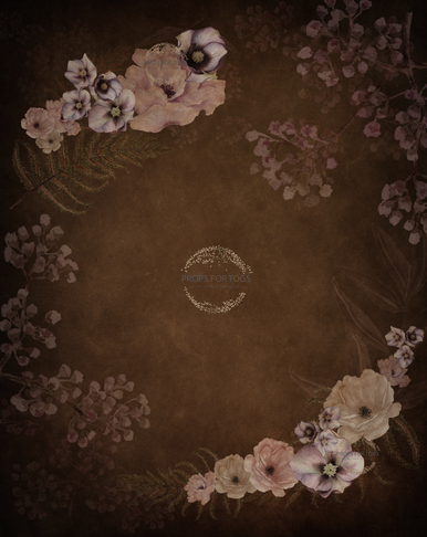 warm rich brown flowers  hand painted textured photographers backdrop Hickory floral 005