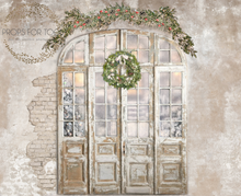 rustic xmas doors  with wintery window scene .Part of our room set, where you can get 3 walls all to match and Sams white wood to finish the look