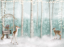 winter forest with cute reindeer crossing