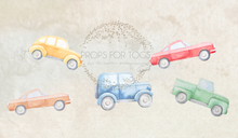 Retro vintage car themed backdrop- Boys cake smash cars  this image is landscape with no floor area  a square crop will cut off some of the design or give you more in the floor area to get all the design in the backdrop