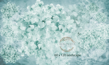 Hydranger Aquamarine   handpainted fine art back drop   - photographers backdrop - backdrop for photography