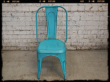 Industrial Styled Tolix Chair Blue
