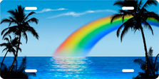 Blue Rainbow Palms Beach Scenic Auto Plate sku T2058B