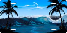 Blue Wave Palms Scenic Auto Plate sku T2102B