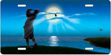 Golfer on Blue Auto Plate sku T9476B