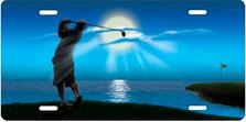 Golfer on Blue Auto Plate sku T9476B
