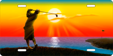 Golfer on Full Color Auto Plate sku T9476D