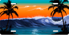 Orange and Green Wave Palms Scenic Auto Plate sku T2102D